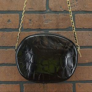 ANN TAYLOR Chain Link Strap Black Crossbody Bag